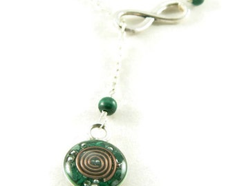 Orgone Energy Infinity Lariat Necklace in Antique Silver Finish with Malachite Gemstone - Orgone Energy Necklace - Dainty Necklace
