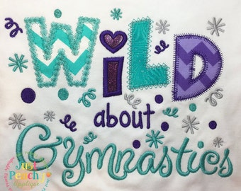 Wild About Gymnastics Machine Embroidery Applique Design