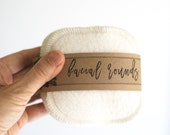 "Organic Vegan Bamboo Facial Rounds with Organic Cotton Thread  Face Cloth - Make-up Remover - 4"" Facial Rounds - Choose your quantity"