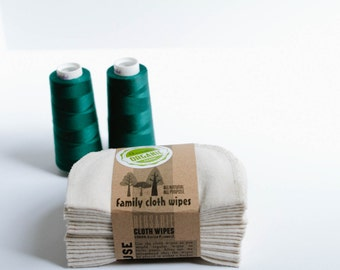 Organic Cloth Wipes - GOTS Flannel Cloth Wipes - Organic Wipes - Double Layer (Forest Green Tread Edging)