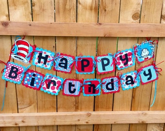 Dr. Suess  Inspired Birthday Banner - Ready to Hang, Red, Blue, White, black