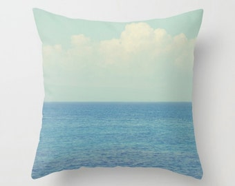 "IN STOCK - Ocean Ombre, White Blue Ombre Decor -  22"" x 22"" Double Sided Cushion Pillow Cover, Home Decor Throw Pillow - Beach Summer Days"