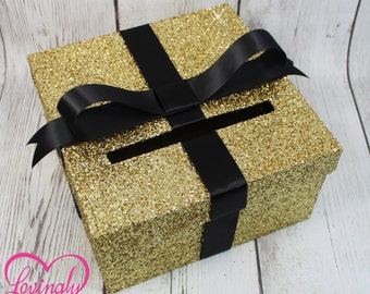 Cardbox -  Glitter Gold and Black Gift Money Box for Any Event - Baby Shower, Wedding, Bridal Shower, Birthday Party, Sweet 16