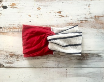 Americana twist front turban headband, red, white and blue turban