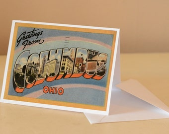 Columbus Ohio Vintage Postcard Greeting Card