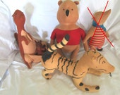 RESERVED 1950's THREE Vintage Agnes Brush Winnie The Pooh Figures Kanga Roo Pooh Tigger Primitive A. A. Milne Christopher Robin Vintage Toys