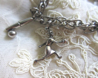 Bowling Charm Bracelet Candlepin Bowling Bowler Vintage Costume Jewelry League Night Ladies Bowling pin bowling alley