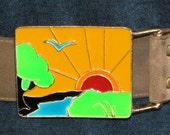 Leather Vintage BELT With Large SUNSHINE Belt BUCKLE