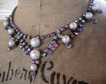 Rhinestone AB and Pearl Colorful Vintage Necklace