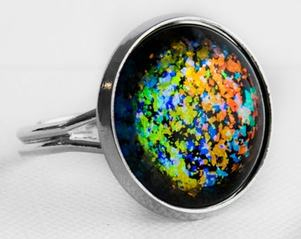 Molten Ice Ring in Silver - Rainbow Orange Blue Green Holographic Fleck Glitter Cocktail Ring