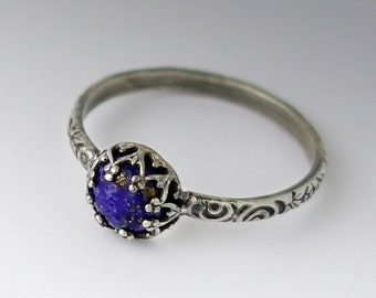 Lapis Lazuli Ring - Sterling Silver Pattern Band with Lapis Lazuli - Custom created in your size