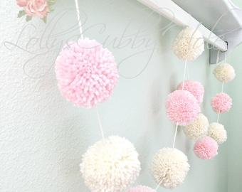 Pink & Ivory Pom Pom Garland - Yarn - Birthday Pom Pom Garland - Baby Bridal Shower Garland - Birthday - Wedding - Ivory Pom Pom Decoration