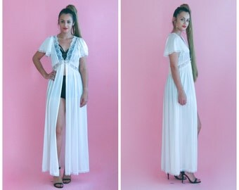 wedding negligee/ greek goddess v neck slip maxi dress/ 1970s/ small - medium
