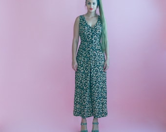 floral pant suit/ wide leg one piece jumpsuit/ 1990s/ small - medium