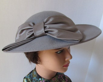 Vintage Grey Hat Satin Bow made in USA by Sylvia/Designer Wool New York