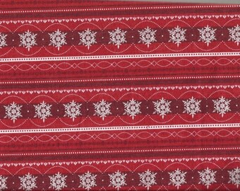Red Snowflake Striped Holiday/Christmas Cotton Fat Quarter Fabric