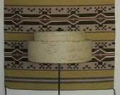 Two Tier Fiberglass Lamp Shade Sand Color With Horizontal Streaks
