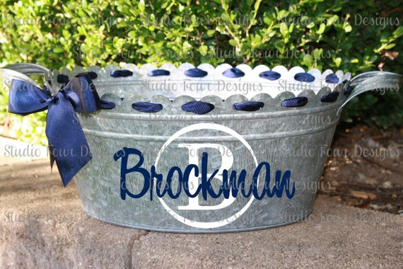 Personalized Scalloped Oval Metal Tub Ice Bucket Party