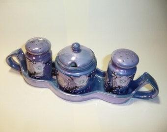 Vintage Japan Blue Lustre Salt Pepper Sugar & Tray Set on Etsy by FUNNYFARMS