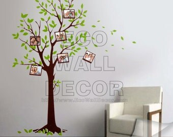 PEEL and STICK Removable Vinyl Wall Sticker Mural Decal Art - Green Tree Photo Frames II