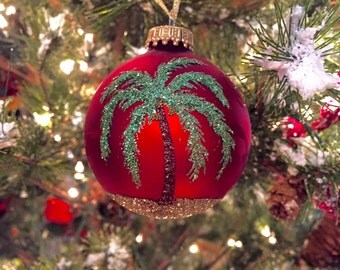 Palm Tree Beach Glitter Ornament - Personalized Beach and Palm Tree Vacation Memory - Unique Red Glass Ornament