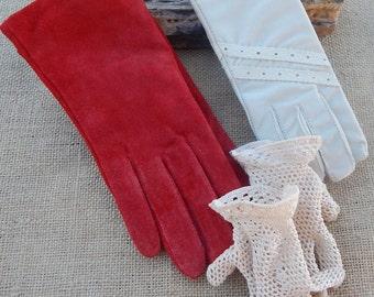 3 Pair Vintage Gloves  ~  Red Suede Size Medium Ladies Gloves  ~  Ecru Crocheted Girls Gloves  ~  Light Tan One Size Fits All Ladies Gloves
