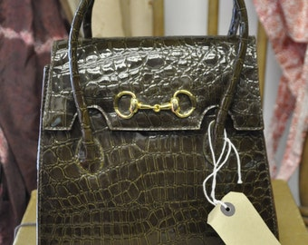 70s Brown Patent Crocodile Effect Handbag