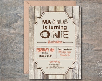 Rustic Birthday Party Invitation, Outdoorsy Birthday Party Invite, Printable, Masculine Invite