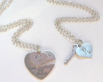 PERSONALIZED INITIAL NECKLACE-Key To My Heart Necklace~Couples Necklace, Boyfriend/Girlfriend Jewelry, He Who Holds the Key Necklace Set