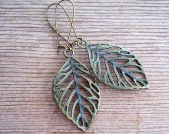 Verdigris Leaf Earrings, Antiqued Brass Filigree Leaf Earrings, Brass Leaf Earrings, Boho Earrings, Fall Jewelry, Verdigris Earrings