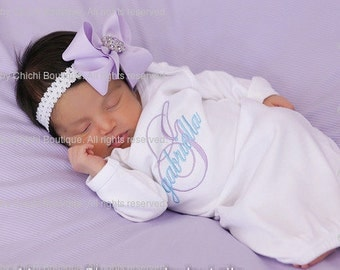 Take home outfit girl Newborn girl gown Infant Gown Baby girl gown Monogrammed gown Personalized gown Baby shower gift