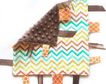 SALE Retro Chevron - Baby Boy ribbon tag lovey sensory blanket toy with brown minky Michael Miller