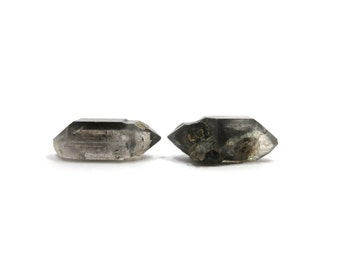 Tibetan Quartz 2 Raw Crystals Double Terminated 29mm x 13mm and 30mm x 11mm Natural Rough Stones (Lot 9338)