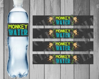 Water Bottle Label Birthday Party Printable Water Bottle Instant Download Monkey Birthday Little Monkey Boy Birthday Monkey Party
