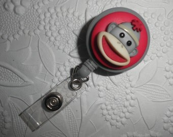 Cute Sock Monkey Professional ID Retractable Badge, Teacher,Nurse,Doctor, Workplace ID,Gift