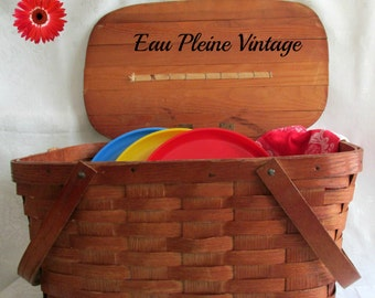 Wood Picnic Basket Plates Cups Towel Outdoor Entertaining Mid Century Modern