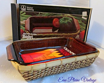 Anchor Hocking Harvest Amber Basket Buffet Utility Pan Fiber Basket Cooking Baking Kitchen Serving NOS