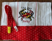 Old Bay Baby Maryland Burp Cloth and Pacifier Clip Set
