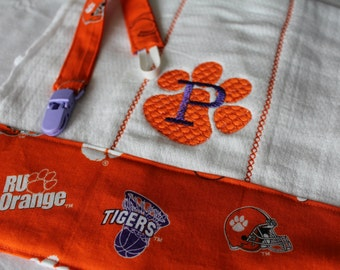 Monogrammed Clemson Themed Burp Cloth and Pacifier Leash