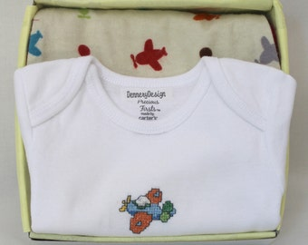 Airplane Onesie and Burp Cloth Set