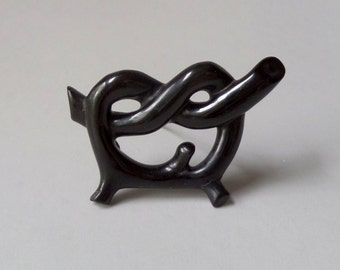 Antique Victorian Love Knot Brooch. Whitby Jet.