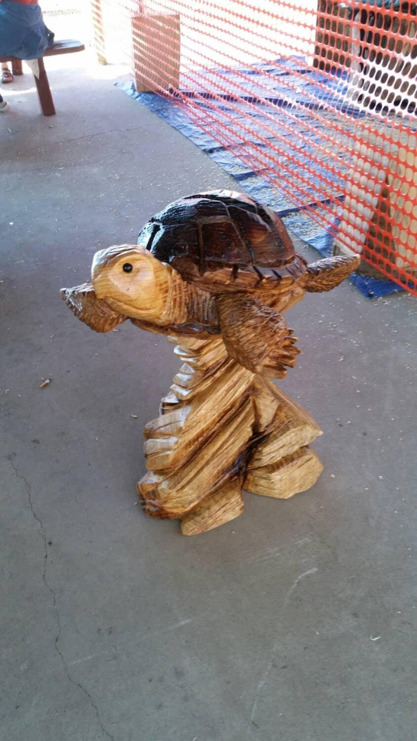 Chainsaw carving carved sea turtle