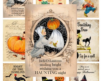 INSTANT DOWNLOAD, Halloween Collage Sheet, Atc Cards, Halloween Tags, Halloween Labels, Printable, Glamorous Sweet Events