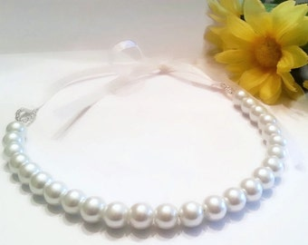 Beautiful white pearl Necklace with Ribbon Ties - white pearls, bridal, flower girl, bridesmaid