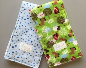 Max the Puppy Cloth Diaper Burp Cloths - Set of 2 - Ready to Ship