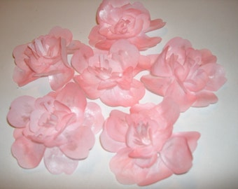 Large Wafer Paper Flowers Cake Toppers, Cupcake Toppers for Weddings, Showers, Birthdays