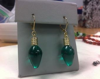 Green lightbulb earrings