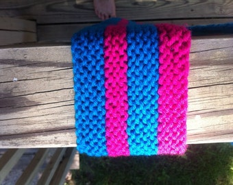 Hot pink and blue striped scarf