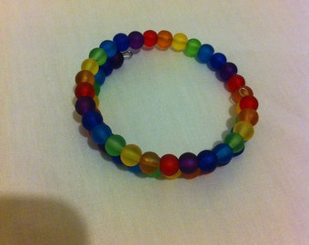 Rainbow frosted glass beaded bracelet lgbt pride