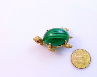 Napier  Figural Turtle Faux Malachite  Cabochon Rhinestone  Brooch Pin # 690